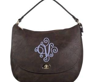 Monogrammed Buckle Hobo Handbag in Chocolate Brown - The Mandy