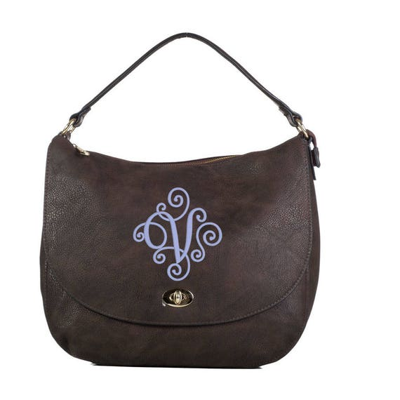 Monogrammed Buckle Hobo Handbag in Chocolate Brown - The Mandy