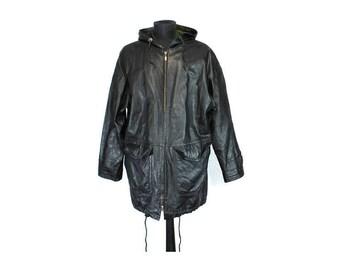 Men's Leather Jacket, Coat, Black Leather Jacket, Size S, Men's Leather Coat With Hood, Black Leather Coat, 80s Jacket Leather