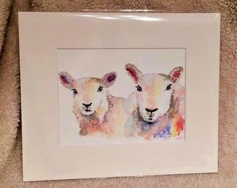 "Sheep 12"" x 10"" Original watercolour painting"