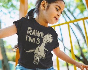 Rawr I'm 3 - Dinosaur T-Shirt for 3 Year Old.  3rd Birthday T-Shirt.