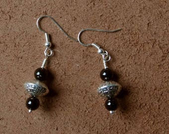 "Black onyx and Tibetan bead, from the collection ""Distant Asia"", mounted on clips, hooks or Leverback Earrings"