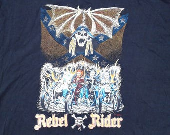 1989 Vintage 'Rebel Rider' Lowrider Chopper Motorcycle Homemade and Crazy Awesome butter thin t-shirt Made in Canada XL