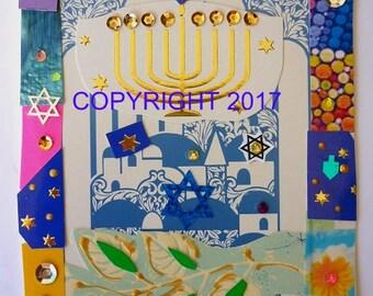Handmade Chanukah card