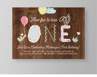 1st Birthday Invitation   Cute Girls Birthday Invite   Bunny Ears   Printable   Editable Template   Instant Download   Templett #038GBD