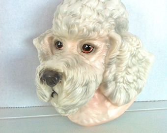 Ceramic Poodle Head Wall Hanging/White Poodle Decor/Poodle Figurine/Poodle Wall Decor/Retro Poodle Decor/White Poodle/Vintage Dog Wall Decor