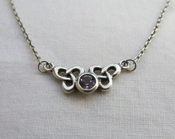 Silver and amethyst celtic knot necklace Kit Heath