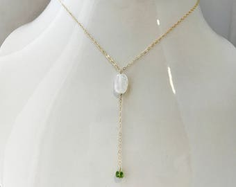Moonstone Necklace Peridot Necklace Natural Gemstone Necklace Moonstone Layering Necklace Dainty Boho Necklace  Healing Minimalist Necklace