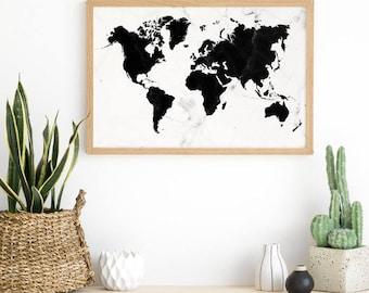 World Map Poster - Modern Marble Print - World Map Kids Room - Scandinavian Print - Traveler Gift - Marble Print Art - Marble Wall Print