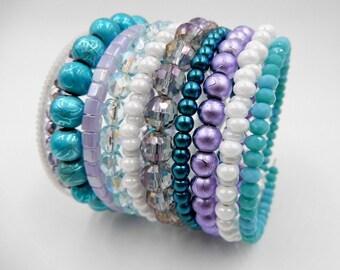 Memory wire bracelet, beaded wrap bracelet, memory wire wrap bracelet, stacking bracelet, layered bracelet, beaded bracelet, cuff bracelet