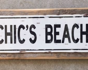 Chic's Beach, Chick's Beach, Virginia Beach sign, Metal on wood sign, home decor, Wall decor, Vintage, Rustic,