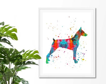 Doberman 2 Watercolor Fine  Art Print, Poster, Wall Art, Home Decor, Kids Wall Art, Play Room Wall Art, Nursery Wall Art, Archival print