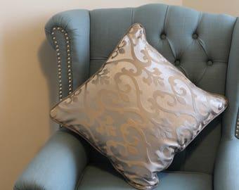 Silver Grey Cushion Cover, Silver Cushion Cover, Metallic Grey Cushion Cover, Pillow Cover