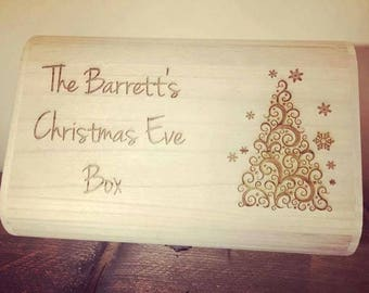 Personalised Luxury Wooden Christmas Eve Box - Engraved Christmas Tree Design.