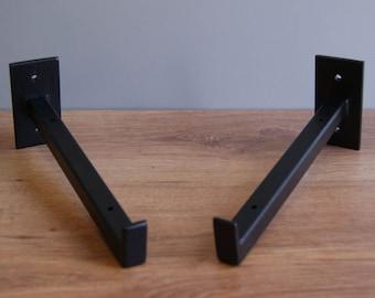 Welded steel shelf brackets (2 pieces) - industrial style