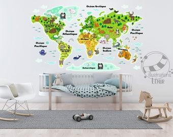 Décalque mural adhésif Carte du monde, animaux et continent en français et couleurs :)