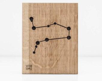 Gemini Constellation Wooden Picture, Zodiac Constellation Wooden Picture, Wooden Picture, Stars