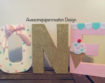 One letters,8inches,paper mache letters, ice cream letters,ice cream birthday party,ice cream first birthday,ice cream party decorations