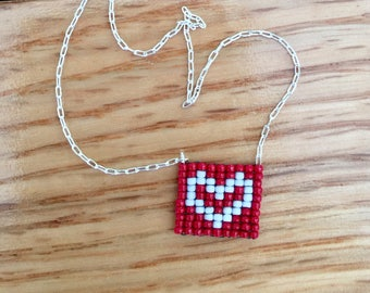 Red Beaded Heart Necklace, with Sterling Silver or 14k/20 Gold Filled Chain