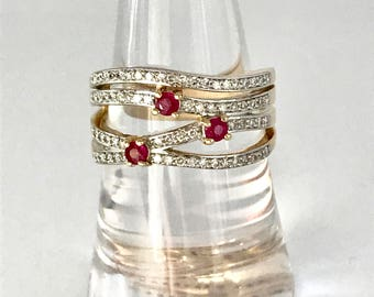 Modern 3 row ruby and diamond ring with valuation