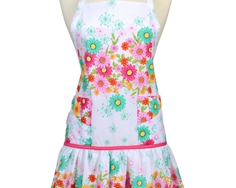 Womens Ruffled Apron Cute and Beautiful Border Print Pinks and Teals Retro Traditional with Large Pockets and Adjustable Neck Ties