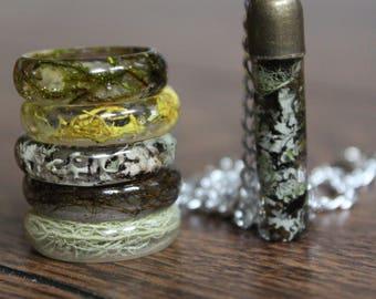 Moss Necklace & Ring Jewelry Set - Real Moss Jewelry Terrarium Botanical Personalized Gift Woodland Moss Jewelry Summer Jewelry Bridesmaid