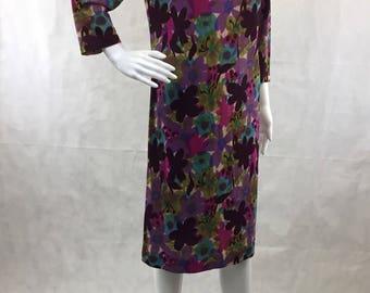 1960s Toni Todd Vibrant Multi-Color Purple Floral Print Dress | Brushed Knit Jersey | Shift Style | Size Medium 8-10