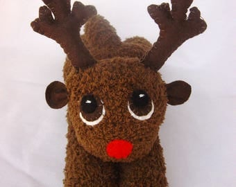 Soft and cuddly Christmas Rudolph sock reindeer plushie toy festive decoration