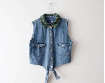 Vintage Large Denim Crop Top Sleeveless Blouse Large Size Midriff Denim Shirt  Summer Jeans Top Blue Cropped Shirt Denim Shirt Tie Shirt