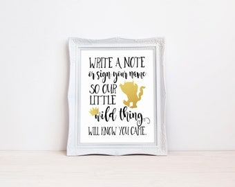 "Write A Note For Our Wild Things 8""x10"" Printable Guest Book Sign 