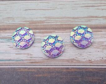 10 pieces round Cabochon 12 mm Mermaid/shell - purple iridescent AB Rainbow