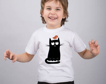 Cat Shirt for Kids Cat Insolent Bird Funny Shirt Girls Clothes Graphic Youth Tee Shirt Animal Shirt Animal Print Teens Clothing PA1092