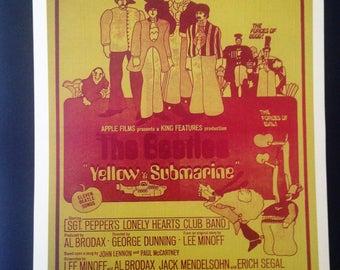 Yellow Submarine Vintage Poster 12'x18' Reproduction // John Lennon // Paul McCartney // George Harrison // Ringo Star // 1960s