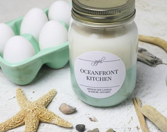 Soy Candle - Ocean Scent | Mason Jar Candles | Gift | Container Candles | Homemade Candles | Nature Scented Candle | Candle 16 oz