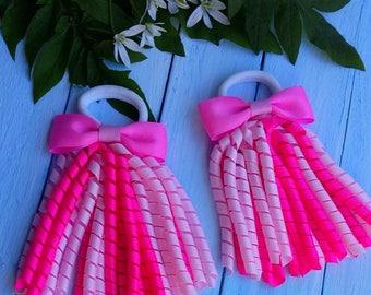 Korker Bow Korker Hair Bow Korker Clip Bright Pink Korker Bow Pink Korker Cip Birthday Bow Baby Bow Streamer Bow Summer Hair Bow Girl Bow