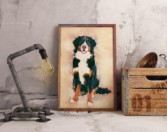 Bernese Mountain Dog Art Print Poster of Dog Custom Dog Print Child Room Wall Art Watercolor Dog Wall Art Canvas Bernese Mountain Dog Print