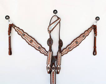 Handcrafted Silver & Gold Gator Headstall Leather Western Horse Trail Bridle Breast Collar Plate Barrel Racer Cowgirl Bling Tack Set
