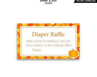 Our Little Pumpkin Diaper Raffle, Baby Shower, Diaper Raffle insert, card, ticket, fall, baby shower, leaves, sweet little pumpkin, 046