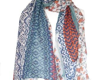 Easter Scarfs Scarf Flower Print Tassel Scarves/Shawl Shawls/Wrap Wraps/Blue Red white Neckerchief/Rebozo Cloak/Sarong/Muffler/cape/Pareo