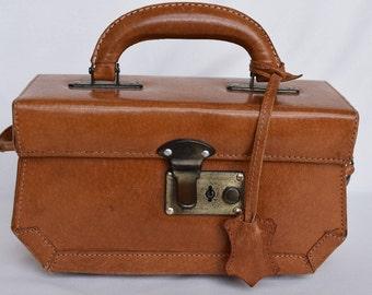 Vintage Brown Leather Box Purse