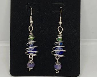 Spiral Wire  Dangle earrings with Crystal Beads ,A unique gift.