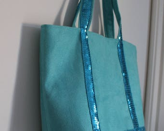 Small matching glitter band and turquoise girl tote bag