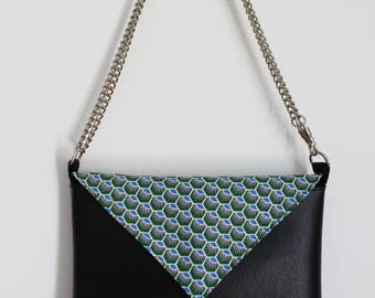 Black, blue and green Peacock clutch bag