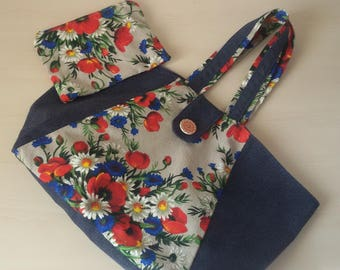 Flower fabric and jeans bag c/clutch bag