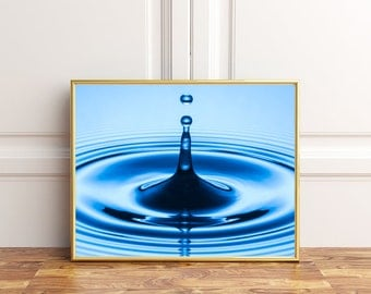 Rippling Water Droplet, Fine Art Photography, 8x10, Instant Download, Macro, Abstract Photography, Home Print