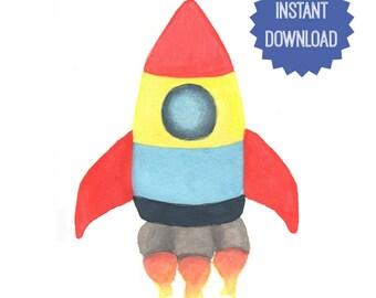 Printable Rocket, Watercolor Print, Boys Room Decor, Wall Decor, Boys Nursery, Wall Art, Gift for Him, Spaceship Art, Rocket Art