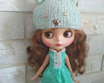 Blythe clothes Green polka dot dress for Blythe