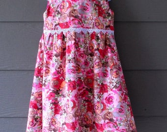 Pink Floral Lace Trimmed Spring Dress