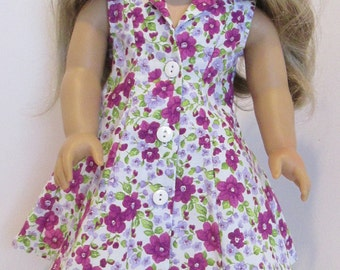 18 inch dolls dress, American Girl, Our Generation and Journey Girl dolls, summer dress,. Floral dress.