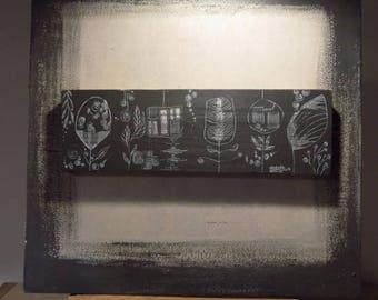 """Cadre en contre plaqué recyclé, tableau carré, """"Ondes funestes"""""""